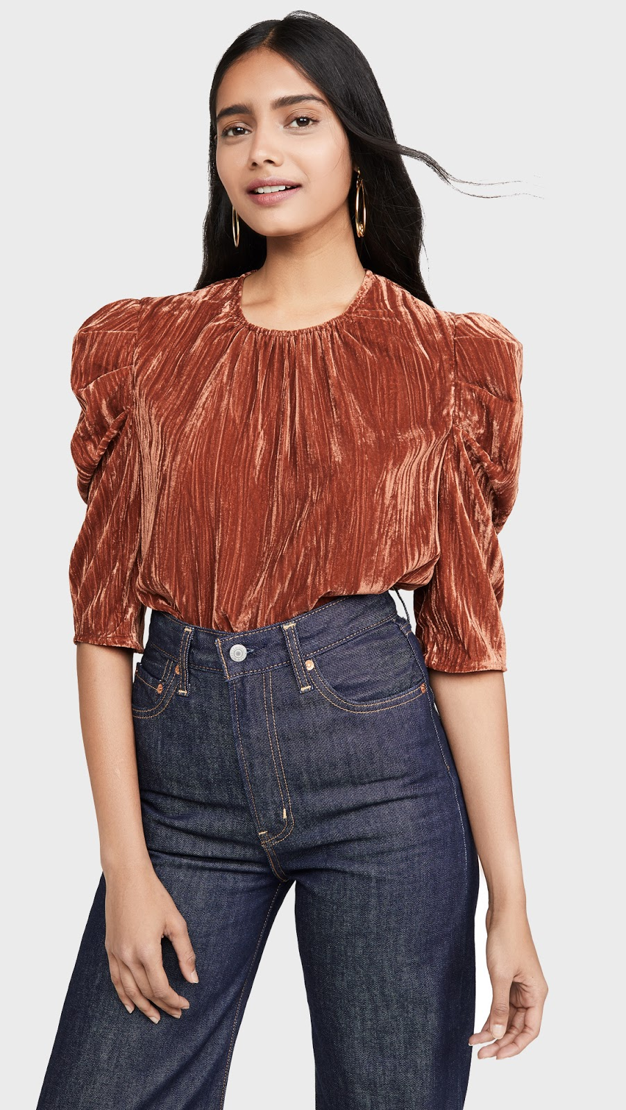 Under $100 Party Top for Thanksgiving or Christmas Holidays — Velvet Puff-Sleeve Top and High-Waisted Jeans