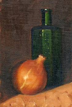 Oil painting of a brown onion in front of a small green antique poison bottle.