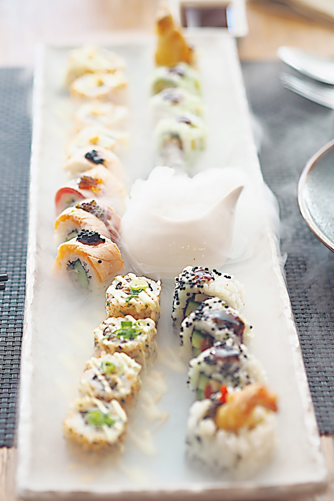Mixed sushi Maki platter with dry ice