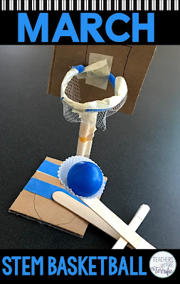 A perfect STEM Challenge for March Madness or any time. Take advantage of the interest your elementary students have in basketball in March and try this fun STEM project to build a basketball goal and a way to throw the ball. #STEM  #elementary