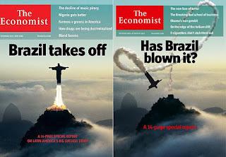 Capas da The Economist de 2009 e 2016 mostram a ascensão e declínio do Brasil