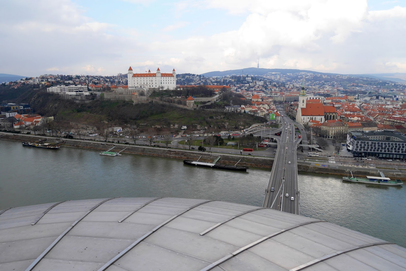 Views of the Old Town from Bratislava's UFO Tower Observation Deck