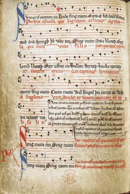 Manuscript of Sumer Is Icumen In from the British Library