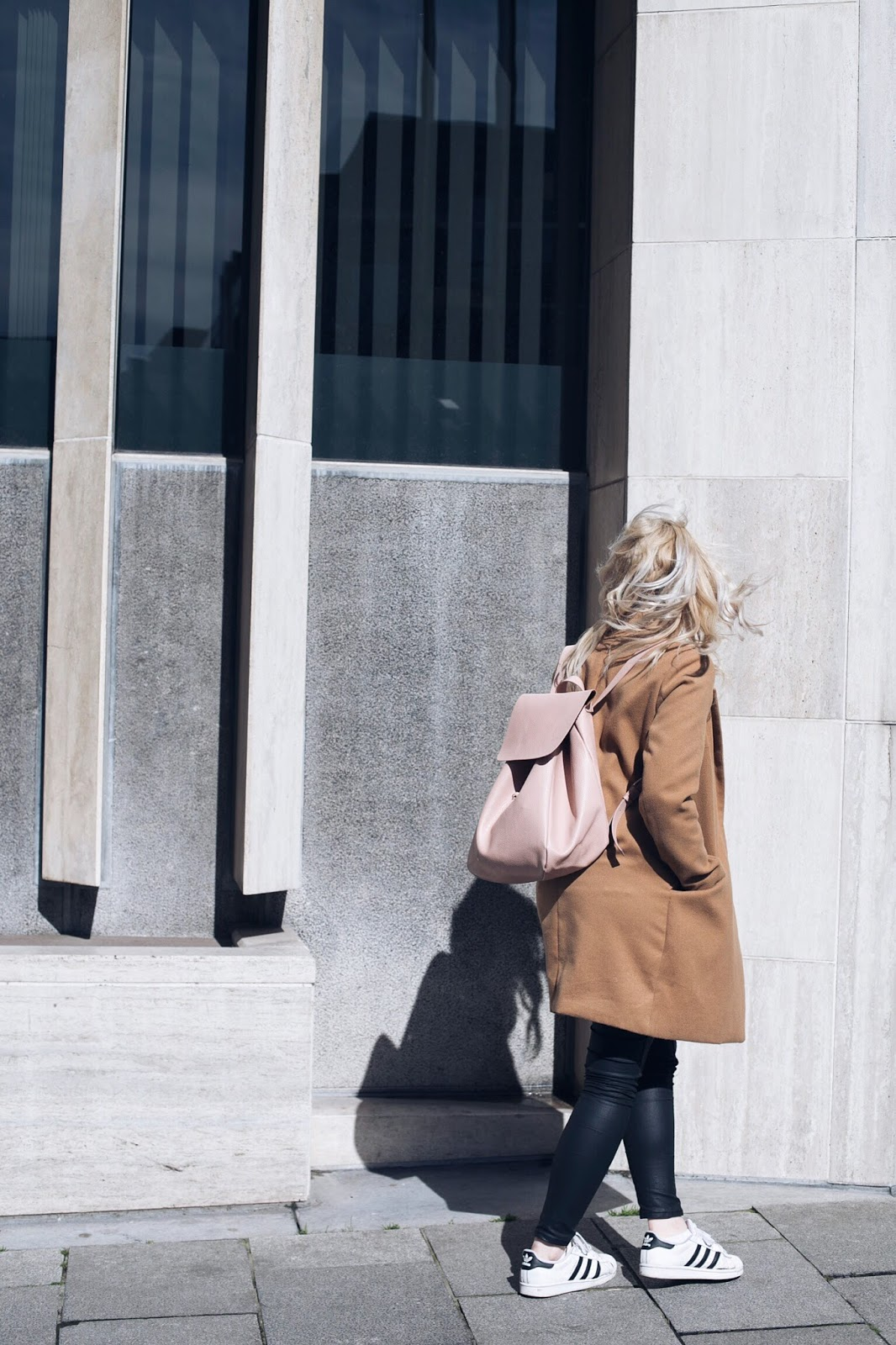 Camel coat, Zara pink backpack, Adidas Superstars outfit