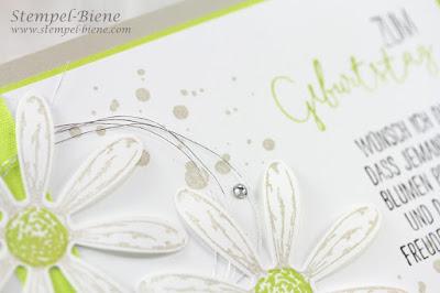 Stampinup; Für besondere Anlässe; Gänseblümchengruß; Incolor Limette, Geburtstagskarte; Stampinup Recklinghausen; Stampinup Winterkatalog; Stempel-biene