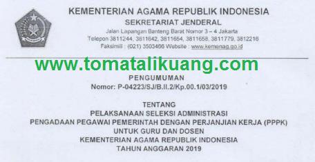 seleksi pppk p3k kemenag tahun 2019 untuk guru dosen kementerian agama, tomatalikuang.com