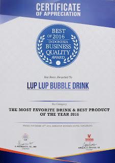 penghargaan sertifikat LUP LUP BUBBLE DRINK