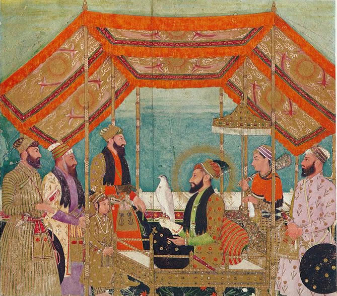 Aurangzeb seated on a golden throne holding a Hawk in the Durbar.