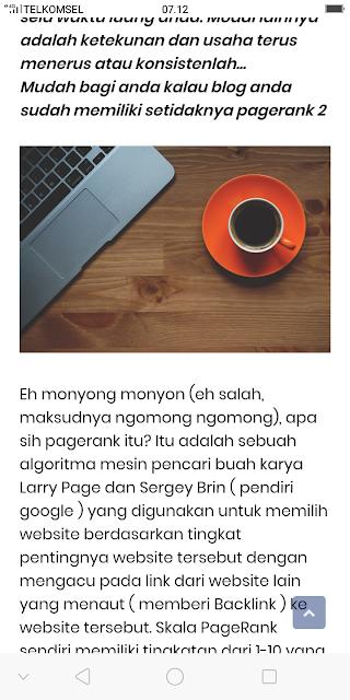 Tampilan gambar pada konten blog setelah diperbaiki