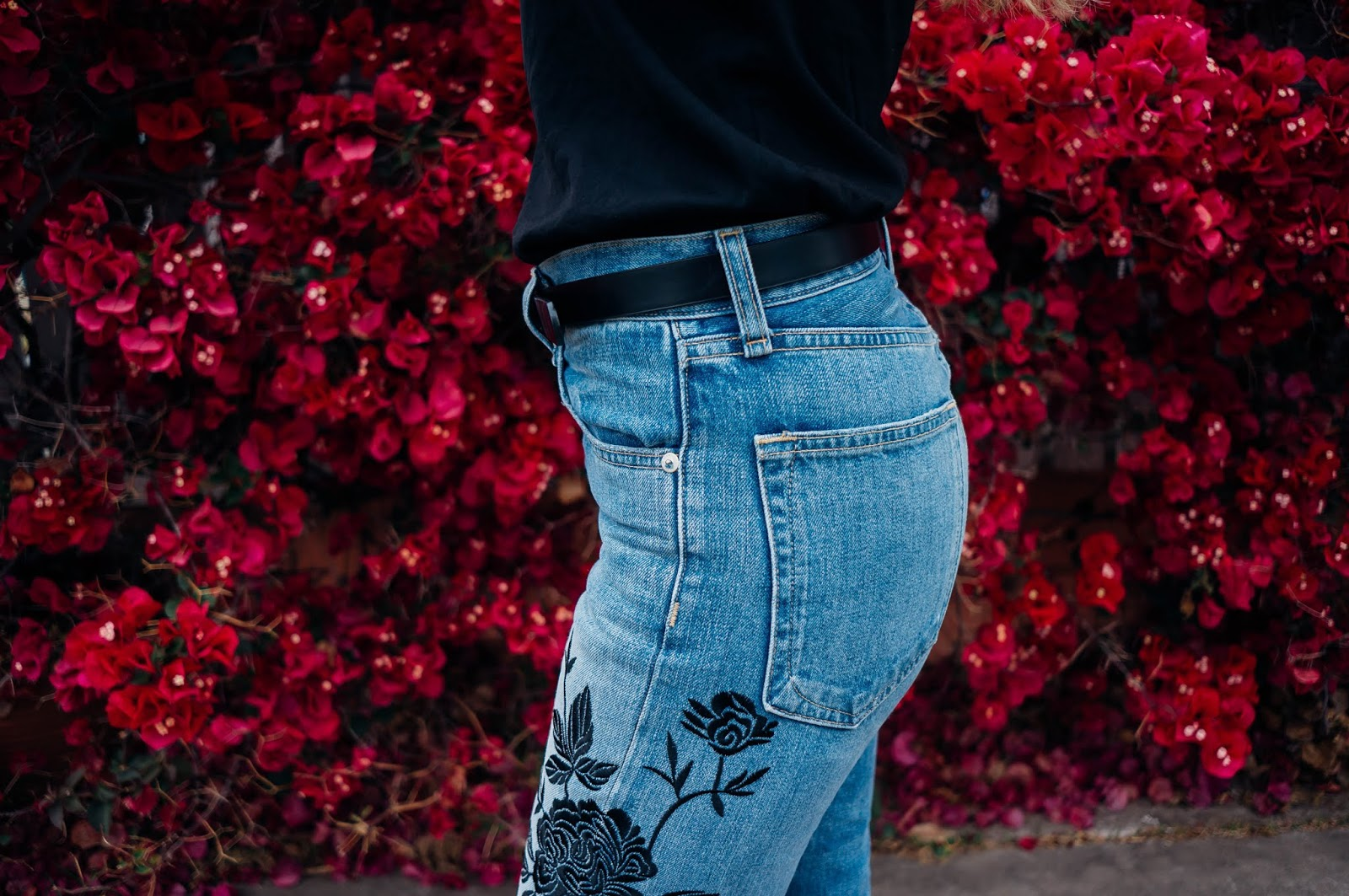 Grey Suede Rag& Bone Floral Embroidered Denim Jeans