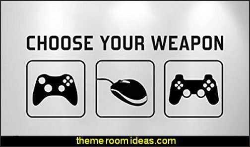 Choose Your Weapon Vinyl Decal Mural Gamer bedroom - Video game room decor - gamer bedroom furniture - gamer wall decal stickers - Super Mario Brothers Wall Stickers - gamer bedding - Super Mario Brothers bedding - Pacman decor -  Retro Arcade bedrooms -