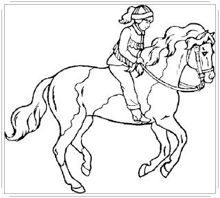 Ausmalbilder Pferde Mit Reiter, Malvorlagen zum Ausdrucken Kostenlos
