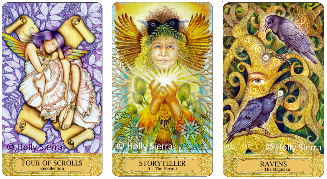 Chrysalis Tarot Four of Scrolls Recollection, Storyteller The Hermit, Ravens The Magician, Holly Sierra