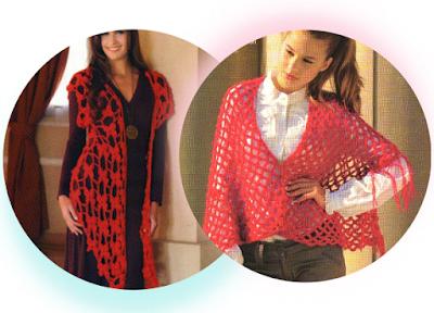 2 Chals en Punto Red Crochet