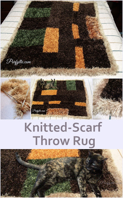 Knitted Scarf Throw Rug
