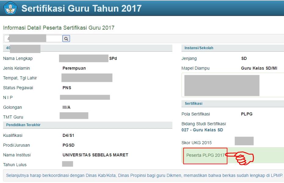 Informasi Detail Peserta Sertifikasi Guru 2017