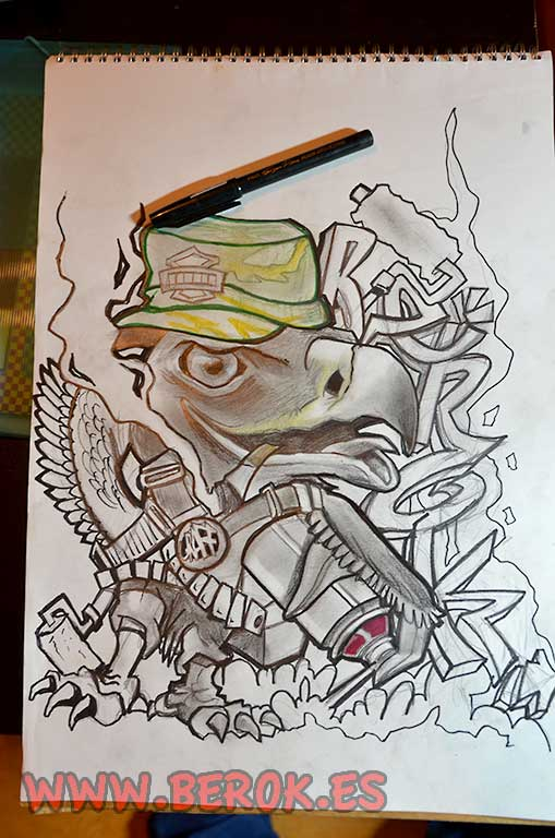 boceto graffiti águila cartoon