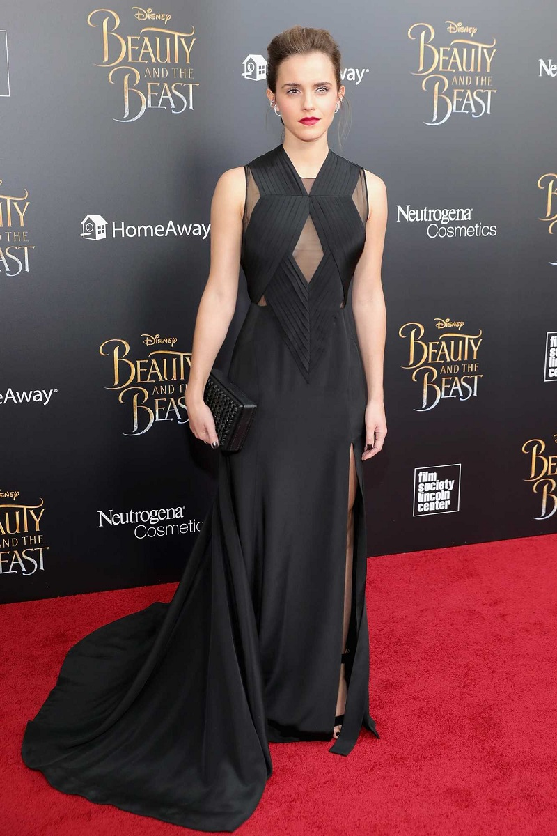 Emma Watson looked sensational in a floor-length black gown at the New York premiere of Beauty And A Beast