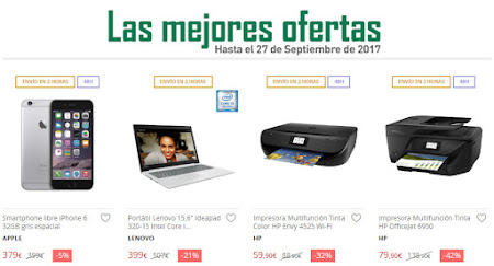Las mejores ofertas hasta el 27 de septiembre de 2017 de El Corte Inglés