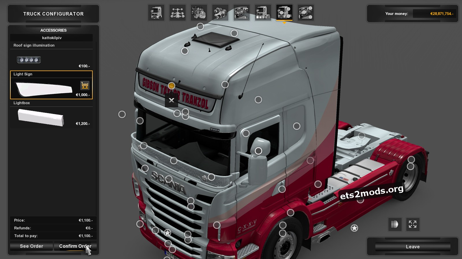 Gibson Taylor Tranzol Skin for Scania RJL