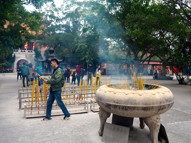 Incense sticks burning outside Po Lin Monastery, Ngong Ping, Lantau Island, Hong Kong