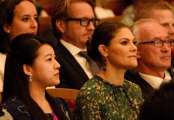 Crown Princess Victoria wore a floral print dress from H&M Conscious Exclusive Collection. Princess Ayako of Takamado