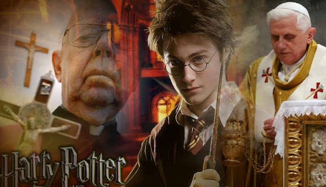 A photomontage of Fr. Gabriele Amorth, Pope Benedict XVI, and Harry Potter