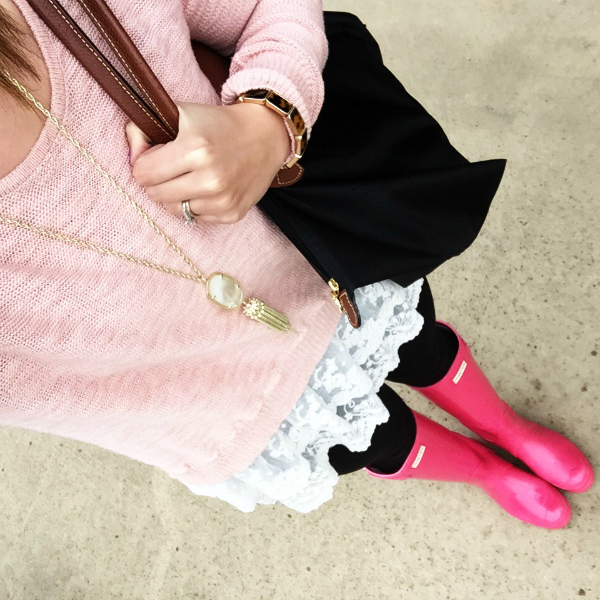 hunter boots, lace sweater, longchamp bag,