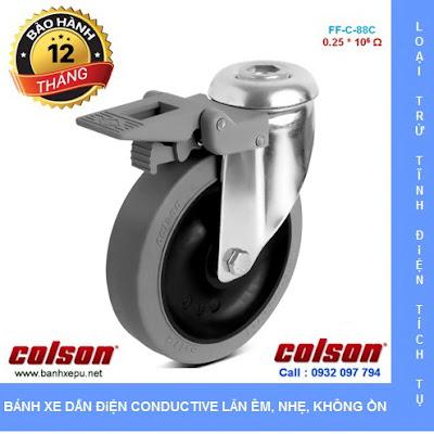 Bánh xe cao su chống tĩnh điện Colson Mỹ lắp lỗ giữa có khóa phi 125 www.banhxedayhang.net