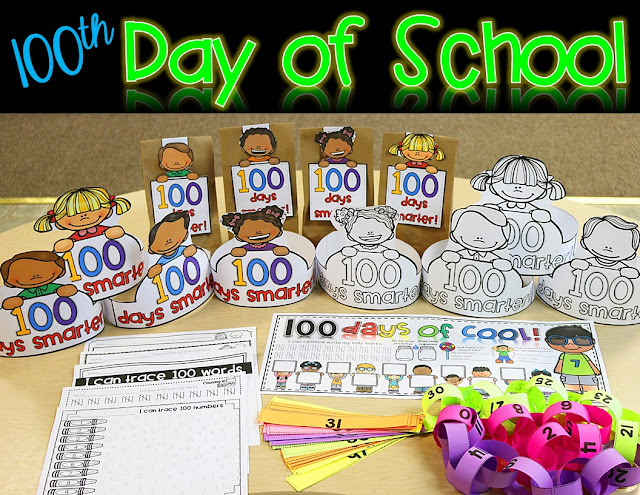"Your preschool, Kindergarten, 1st, and 2nd grade students are going to love this 100th Day of School unit! Great ideas for counting, predicting, the old age app, paper chain station activity, printable worksheets, paper bags for all the fun ""stuff"" they take home, AND 100s day hats! This post has great ideas and a resource that can fill your entire 100s day and make it a lot of engaging, hands-on fun! Click through to get it now! {preK, K, first, & second grader}"