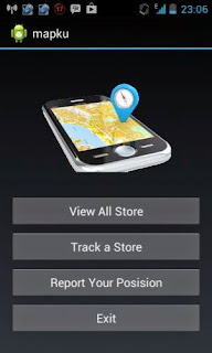 Menu utama aplikasi: view all store, track a store, report your position, exit