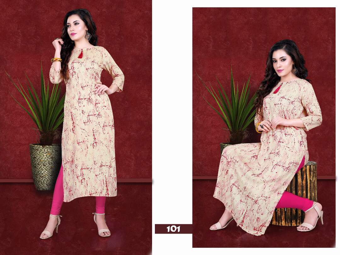 Excellence – Attractive Designer Viscos Reyon Kurti Wholesale Rate