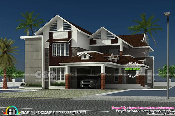 Luxury modern sloping roof house plan