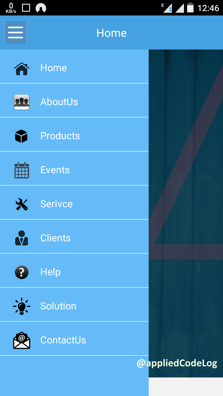 Sliding/Flyout-in menu in android xamarin using Animation and