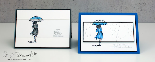 Stampin Up Bente Stempelt Mit Stil inverse color Technique Regenschirm Umbrella