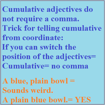 Adjective debate - cumulative versus coordinate