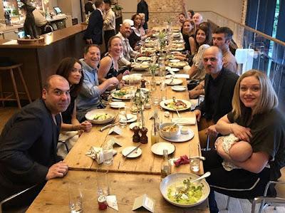 Suits reunion in London, England for royal wedding. Patrick J. Adams, Rick Hoffman, Gina Torres, Troian Bellisario and Sarah Rafferty