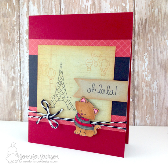 Paris Kitty Card by Jennifer Jackson | Newton Dreams of Paris stamp set by Newton's Nook Designs #newtonsnook
