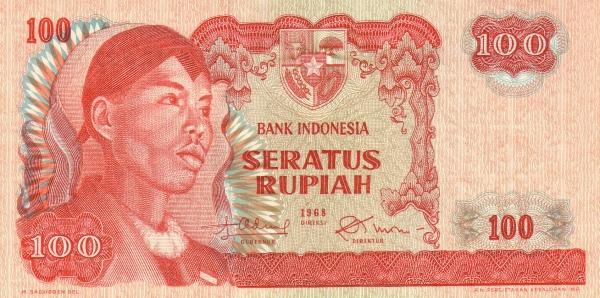 100 rupiah 1968 depan