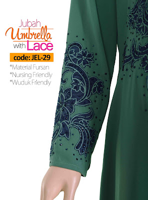Jubah Umbrella Lace JEL-29 Sea Green Tangan 2