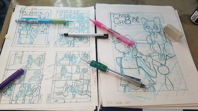 Pencils and Erasers used for thumbnails and roughs stages of comics