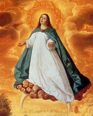 Ilustración de la Inmaculada Concepción subiendo al cielo