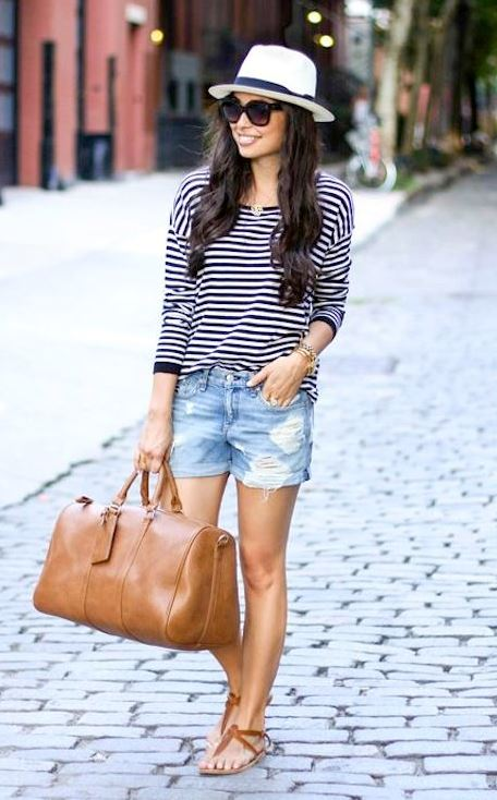 cool summer outfit : bag + hat + striped top + denim shorts