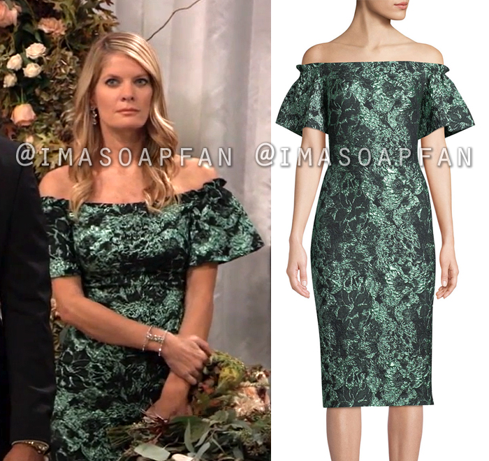 Nina Reeves, Michelle Stafford, Off-the-shoulder Metallic Green Cloque Dress, General Hospital, GH