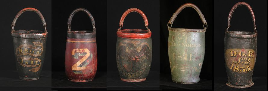 My Antique World Leather Fire Buckets