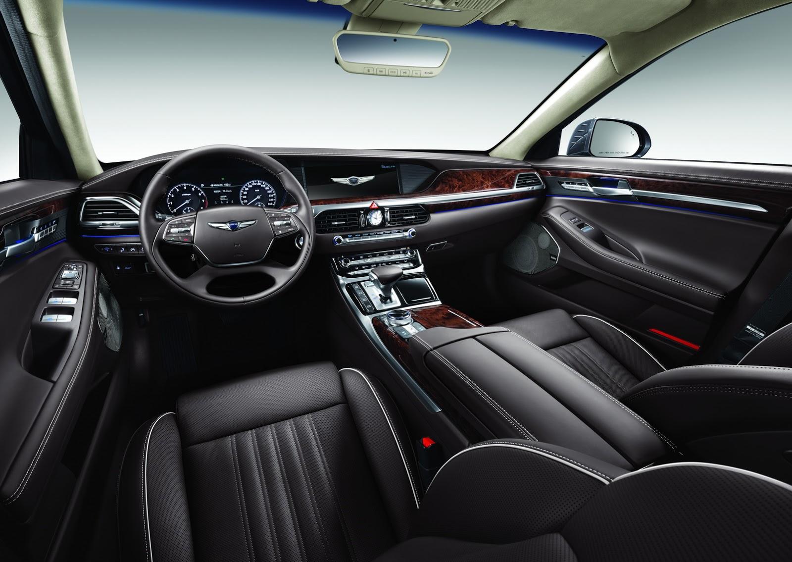 Nội thất của Genesis G90 2017 được làm tinh tế và rất thể thao