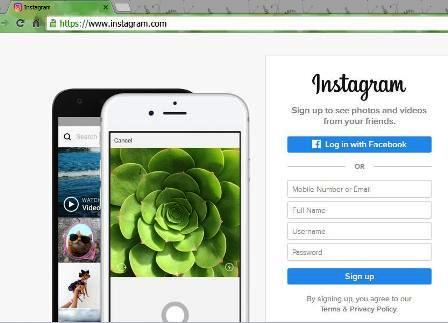 cara daftar instagram via laptop