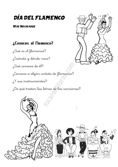 Fichas para Colorear sobre el Día del Flamenco 16 de Noviembre Educación Primaria y/o Secundaria