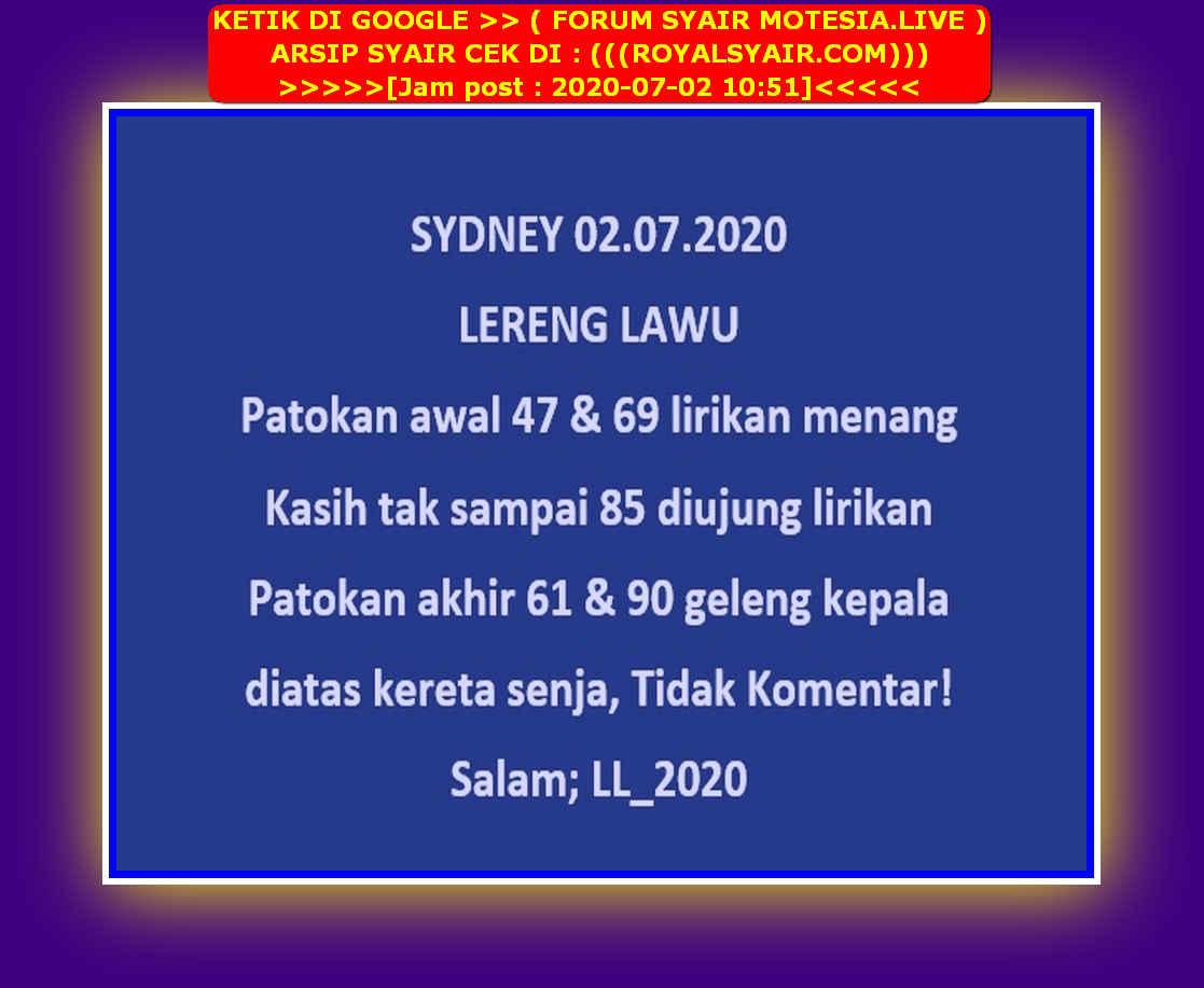 Kode syair Sydney Kamis 2 Juli 2020 19