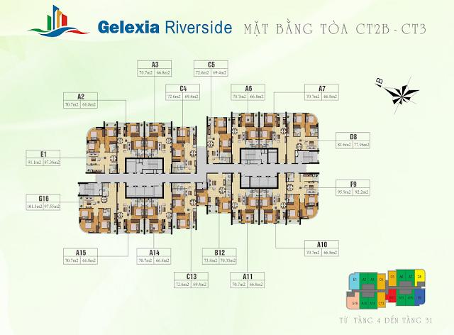 Mặt bằng tổng thể tòa CT2B - CT3 Gelexia Riverside